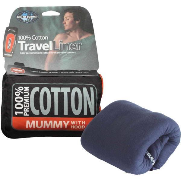 Sea to Summit Cotton Liner Mummy Hood navy blue - Bild 3